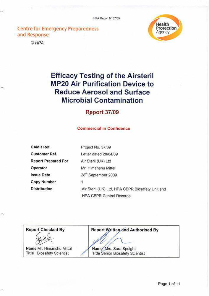 Titelblatt Studie Health Protection Agency AIRsteril